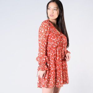 The Kooples Red L/S Dress w/ Roses Size 1